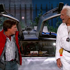 Marty McFly and Doc Brown on Jimmy Kimmel
