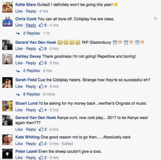 Facebook Coldplay Glasto comments