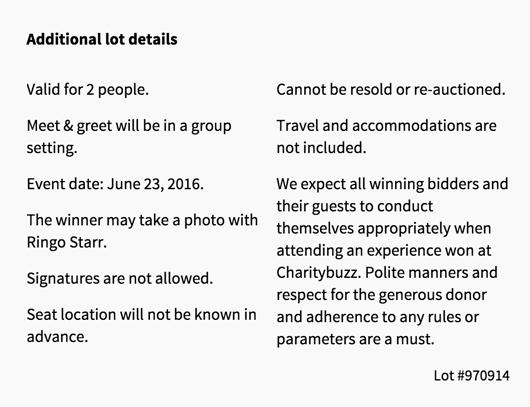 Ringo Starr Auction Lot details