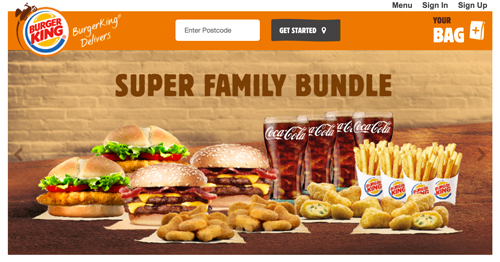 Burger King delivery page