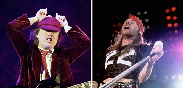 Angus Young and Axl Rose splitscreen