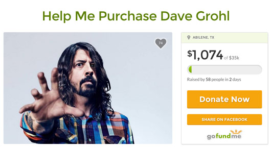 Fan wants to purchase Dave Grohl Go Fund Me Page