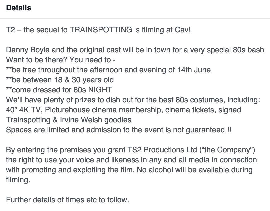 The Cav Trainspotting 2 Facebook event description