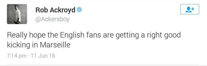 Rob Ackroyd Tweet English Fans