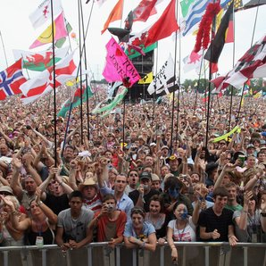 Glastonbury Festival Crowd WitH Flags