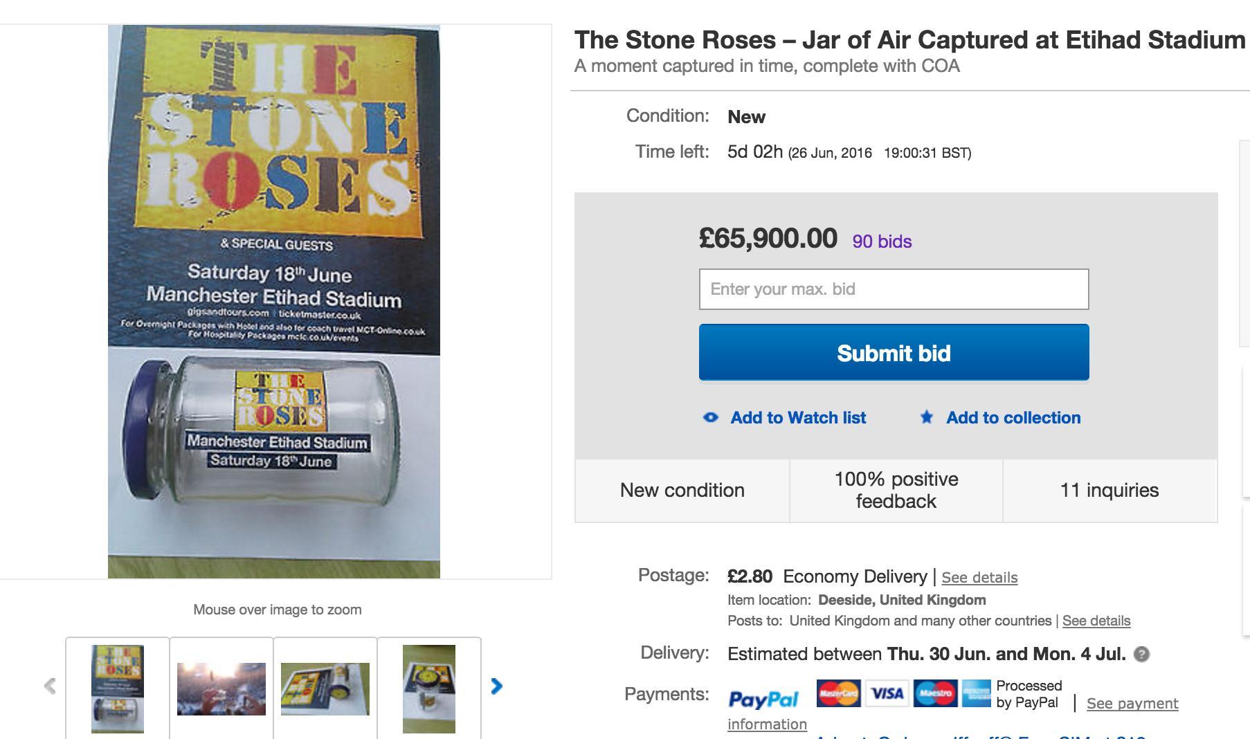The Stone Roses Jar on Ebay