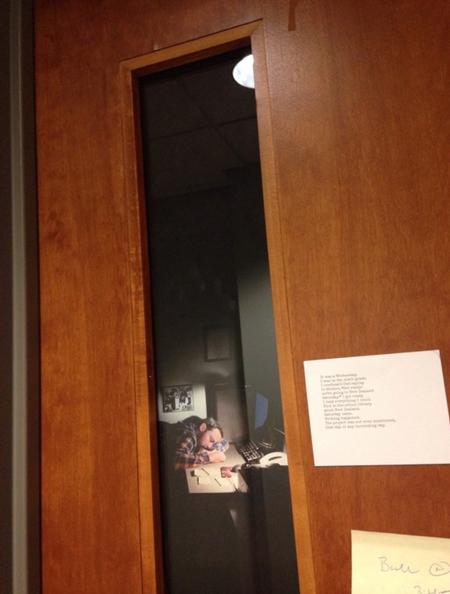Teacher prints image of himself sleeping in window