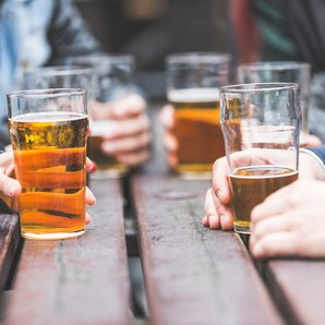 Pub drinks hands table stock image