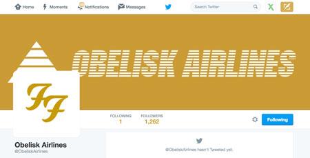Foo Fighters Obelisk airlines Twitter account stil