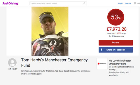 Tom Hardy's JustGiving page