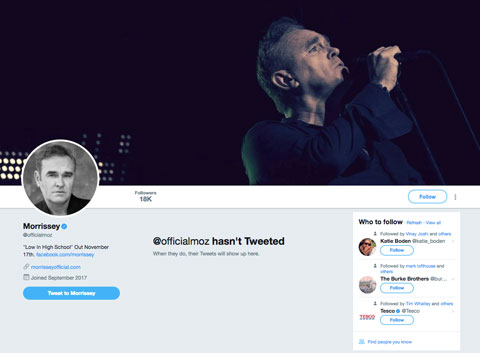 Morrissey Twitter account has tweeted its first tweet