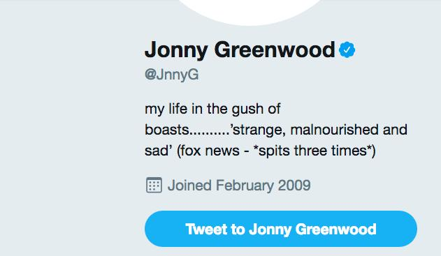 Johnny Greenwood Twitter profile Fox response scre