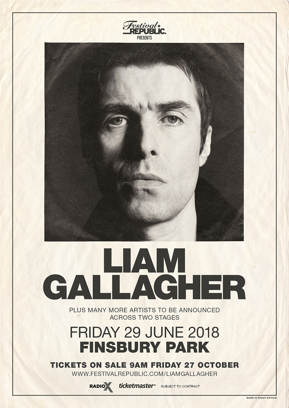 Liam Gallagher Finsbury Park 2018 poster