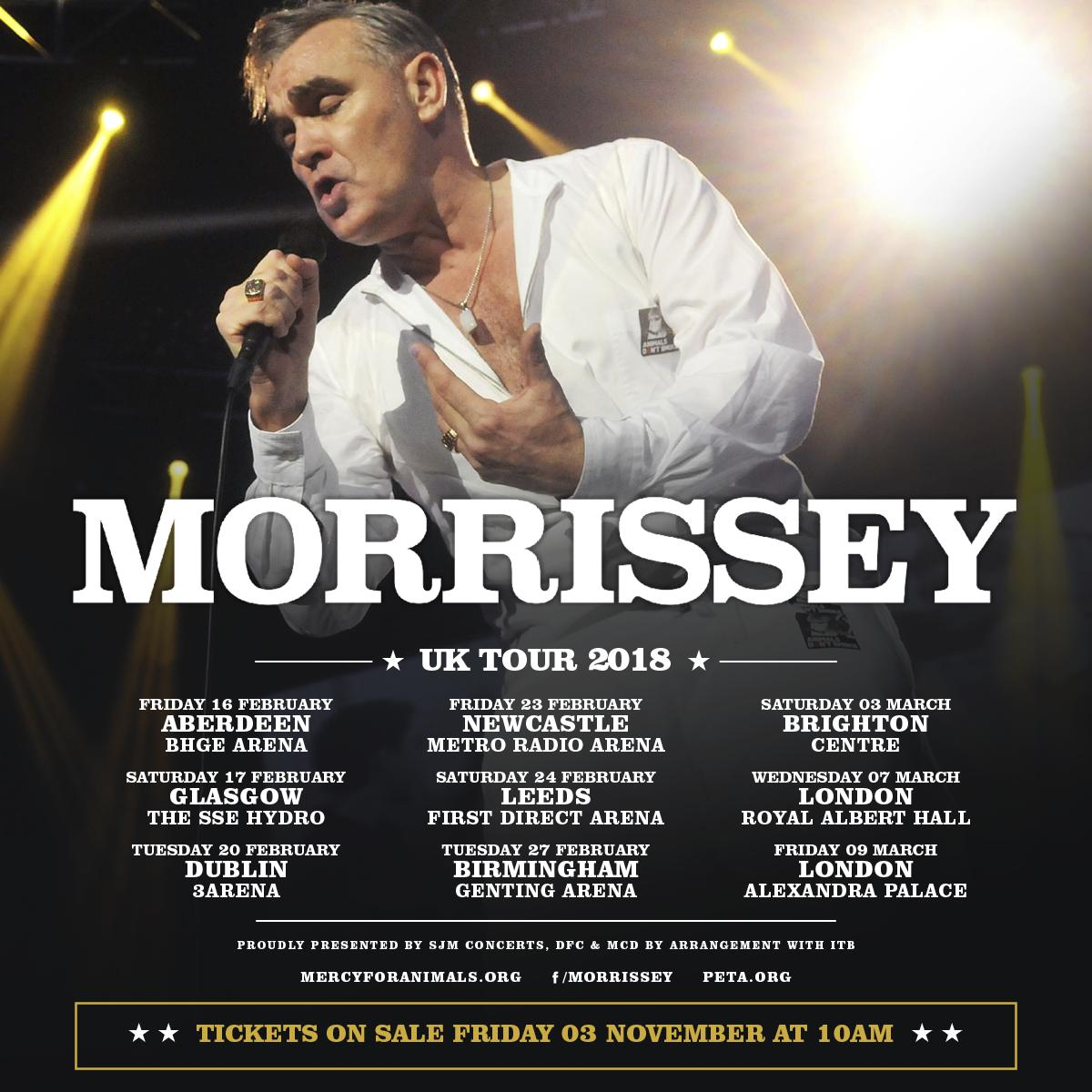 Morrissey announces 2018 tour - including Dublin gig